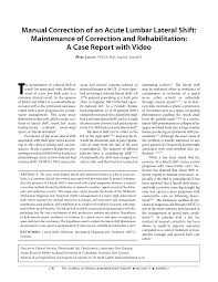 manual correction of an acute lumbar lateral shift maintenance of