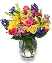 floral bouquets rainbow of blooms vase of flowers in la grande or fitzgerald