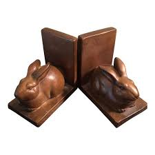 rabbit bookends vintage metal rabbit bookends a pair chairish