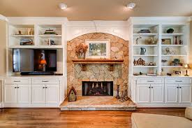 Fireplace With Built In Cabinets Cabinetree Kitchen And Bathroom Cabinetry Showroom In Houston