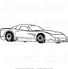 cartoon sports car black and white car showing rings clipart