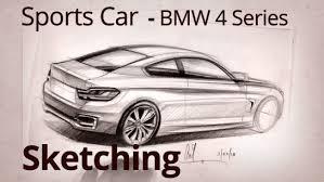 2014 bmw 4 series coupe car designer rear view sketch