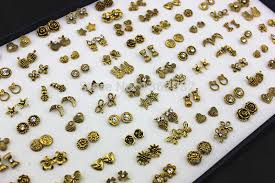 gold earrings for babies 100 pairs mixed design antique gold color owl flower heart