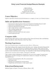 Entry Level It Resume Template Sample Resume For Financial Analyst Entry Level Senior Financial