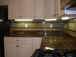 glass 3x6 kitchen tile backsplash with two granite and glass stick