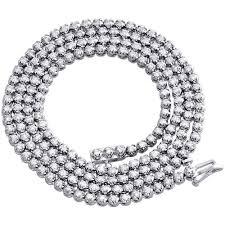 white gold men necklace images 10k white gold mens prong set 1 row genuine diamond chain tennis jpg
