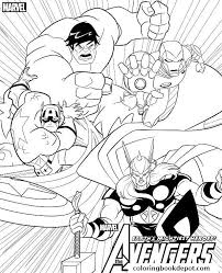 Avengers Team Hulk Ironman Captain America Thor Coloring Pages Thor Coloring Page
