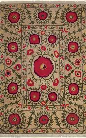 Tibetan Hand Knotted Rug Poppies Beige Tibetan Hand Knotted Rug From The Botanical Rugs