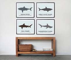 Kids Room Prints by Little Grippers Store U2014 Shark Wall Art Prints For Kids Room