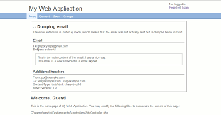 yii layout and sublayout email extensions yii php framework