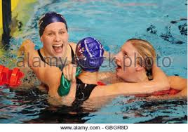 british swimmer rebecca adlington celebrates after winning gold in