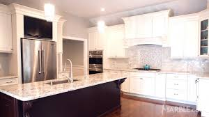Kitchen Marble Backsplash Snow White Granite Kitchen Countertop With Marble Backsplash
