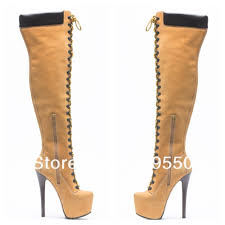 womens thigh high boots size 12 shoe lace elastic picture more detailed picture about