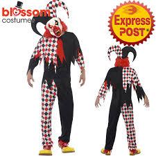 scary costume ca441 mens crazed jester killer clown horror scary evil