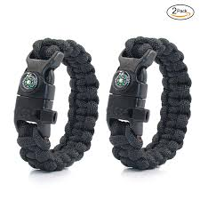 paracord bracelet whistle fire images Pskook paracord survival bracelet with compass whistle fire starters jpg