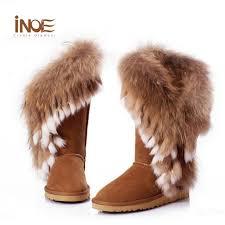 inoe fox fur boots rabbit fur womens leather