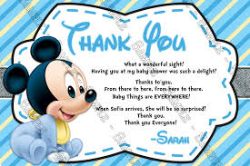 thank you card for baby shower novel concept designs baby mickey mouse baby boy baby shower