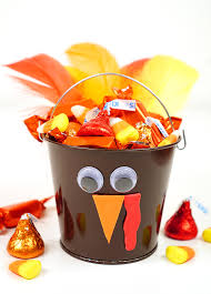 thanksgiving craft turkey treat buckets happiness is