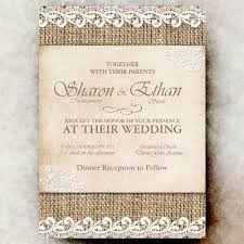 burlap wedding invitation lace cottage chic wedding country