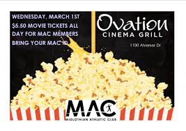 mac movie night at ovation cinema and grill midlothian athletic club