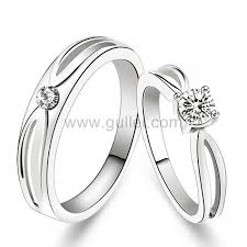 Sterling Silver Engravable Jewelry Name Engraved Sterling Silver Swiss Diamond Couples Wedding Rings