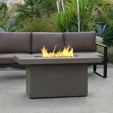 Portable Gas Firepit Real Ventura 50 In Fiber Concrete Rectangle Chat Height