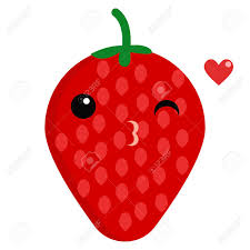 strawberry face emoji blowing a kiss vector illustration flat