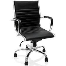 fauteuil de bureau cuir noir de bureau en cuir noir et métal chromé