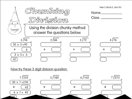 division by chunking a year 5 division worksheet