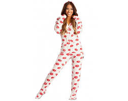 lip printed footed pajamas onesie covered in kisses
