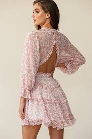 how to cut out the back of a cabinet laney cutout back ruffle trim dress floral print blush
