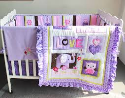 Crib Bedding Discount 7 Pieces Baby Bedding Set Purple 3d Embroidery Elephant Owl Baby