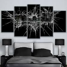 popular glass wall art buy cheap glass wall art lots from china modular frame vintage home decor paintings on canvas 5 pieces batman posters modern hd printed broken