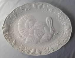 ceramic turkey platter vintage white embossed ceramic turkey platter for thanksgiving