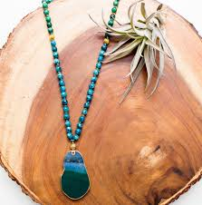 green agate necklace images Blue and green agate beaded pendant necklace panacea jewelry jpg
