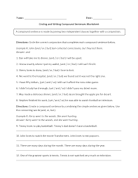 writing paper 3rd grade sentences worksheets compound sentences worksheets circling and writing compound sentences worksheet