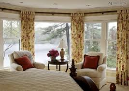 decorations modern bay windows design with small curtain and