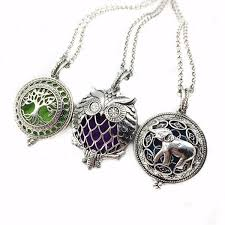 antique silver necklace pendant images 3pcs mixed owl bird tree elephant antique silver diffuser necklace jpg