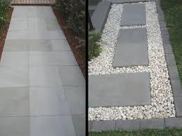 flooring grey bluestone pavers with gravels and plants also wood