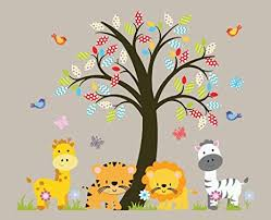 Jungle Wall Decal For Nursery Zoo Animals Nursery Tree Wall Decal Jungle Animals