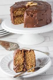 banana spice cake with chocolate fudge frosting