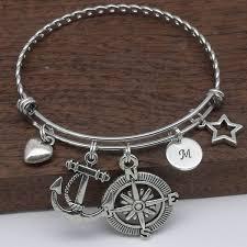 anchor bracelet charm images Anchor compass initial charm bracelet jpg