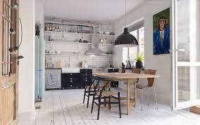dining rooms dark wood floor hanging lamps window seating white