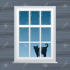 Animated Country House Window Vector Illustration Royalty Free