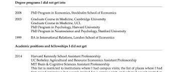 How To Write Phd On Resume A Princeton Professor Published A Cv Of His Failures Online And