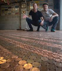Hit The Floor Network - dad and son painstakingly lay a new garage floor made out of