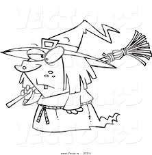 vector of a cartoon short witch coloring page outline by