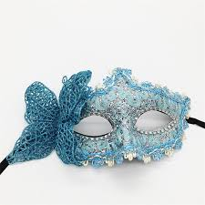 teal masquerade masks fashion half venice mask princess mask with butterfly