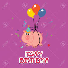 pig celebrating a happy birthday party on purple background