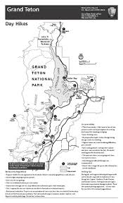 grand teton map grand teton national park day hikes map grand teton national